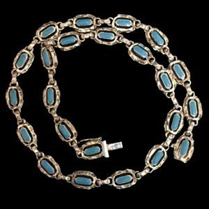 Vintage Sterling Mexico Blue Enamel Necklace